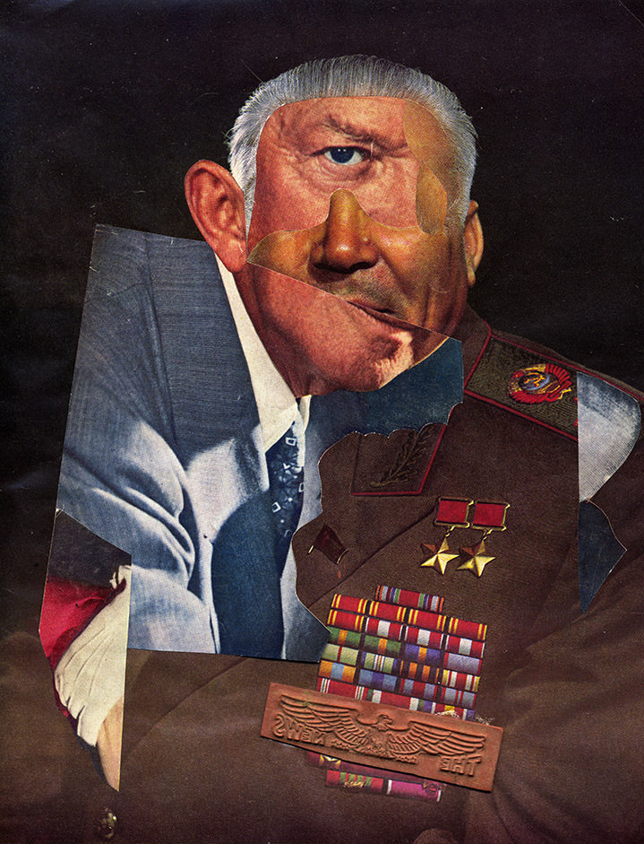 lou beach, illustration, collage, characters, abstract, illustrator, vintage, retro, obscure, unusual, layers, portrait, people, man, medals, face, textures