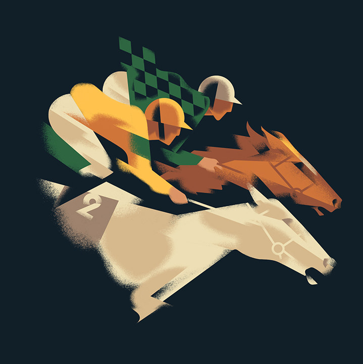Mads Berg, MInimalist art deco illustration of two racing horses