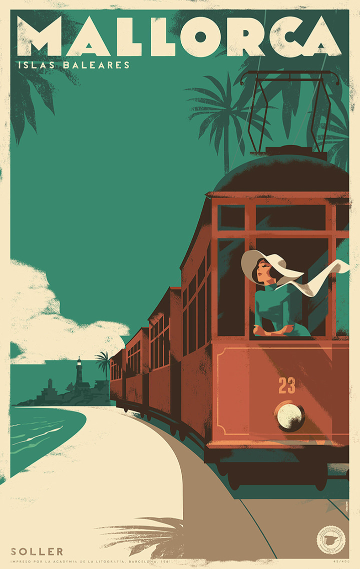 Mads Berg, Retro travel poster illustration. Women at the back od a train for mallorca