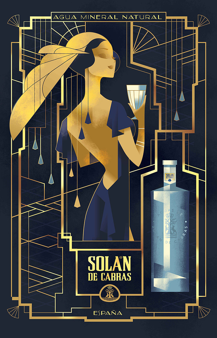 Mads Berg, Elegant decorative vintage illustration for an alcohol campaign with gold ornaments