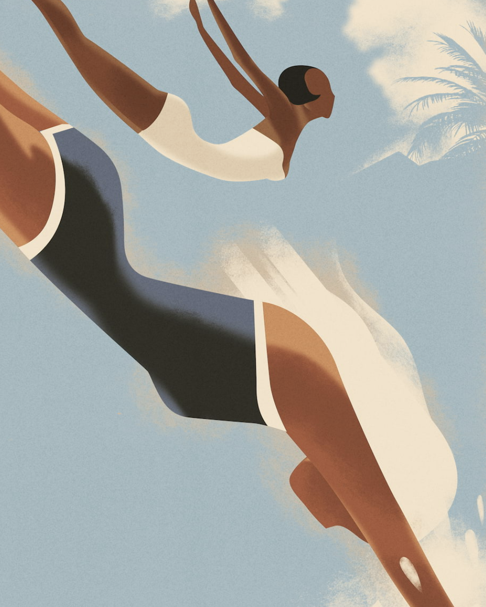Mads Berg, Airbrush bold minimalist illustration illustration of two woman diving