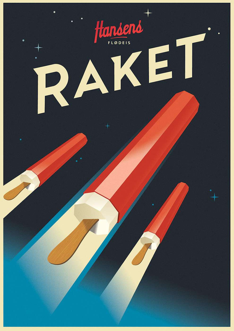 Mads Berg, Art deco digital vintage illustration of popsicles disguise as rockets. Advertising for Hansens