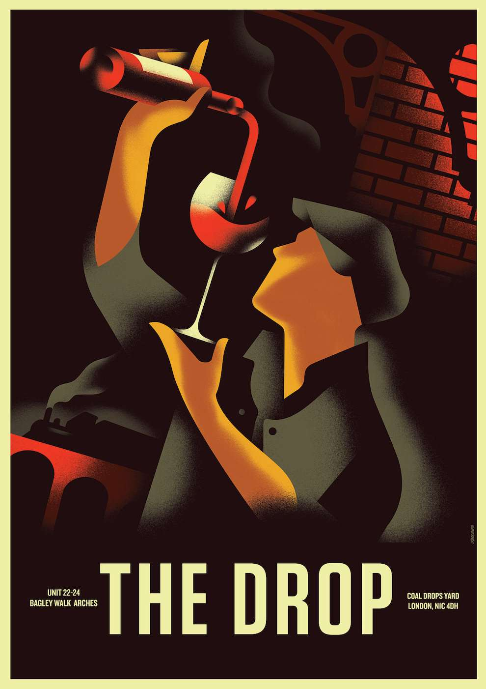 Mads Berg, Art deco digital vintage illustration of a man pouring red wine in a glass. Train in the background