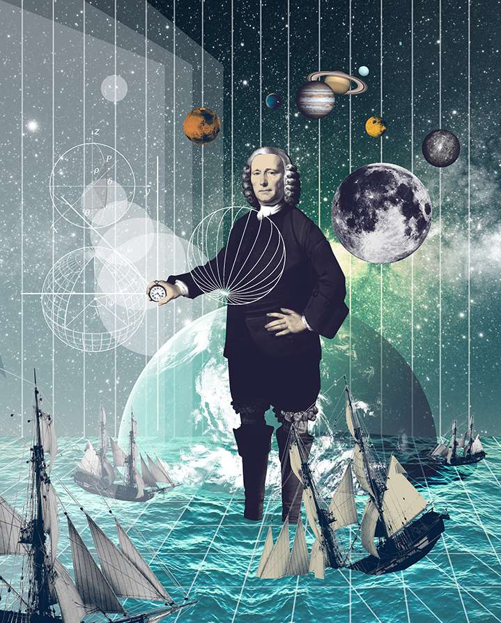 Mario Wagner, Layered photo montage and collage. Surrealist space and sea scene with planets, cosmos and boats surrounding historical male mathematician figure
