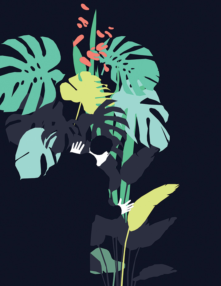 Mario Wagner, Abstract botanical shapes and a minimal illustration of a man. Modern and decorative conceptual design.