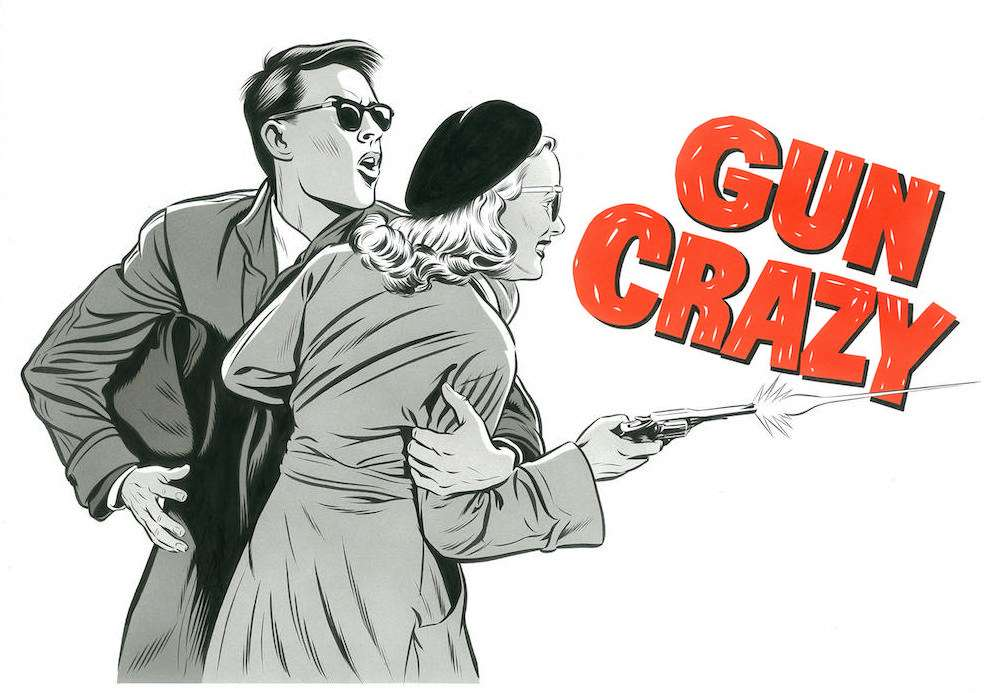 Mark Thomas, Handpainted Film noir type movie poster of a woman shooting a gun being held by a man wearing a suit