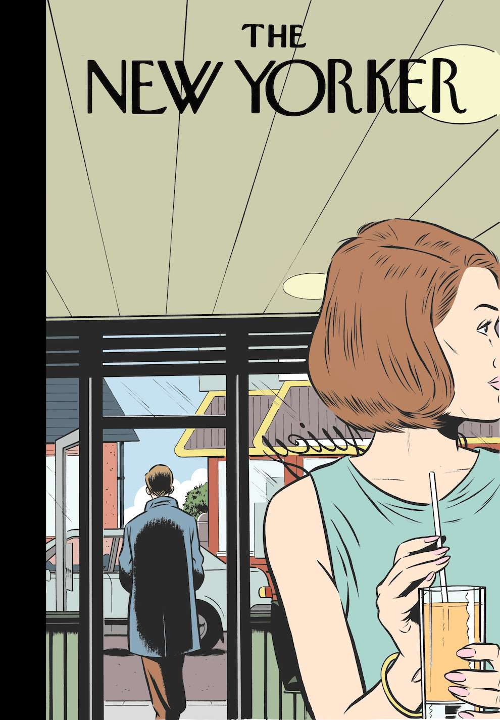 Mark Thomas, Speculative New York Time cover retro style digital illustration of a woman drinking juice in a cafe