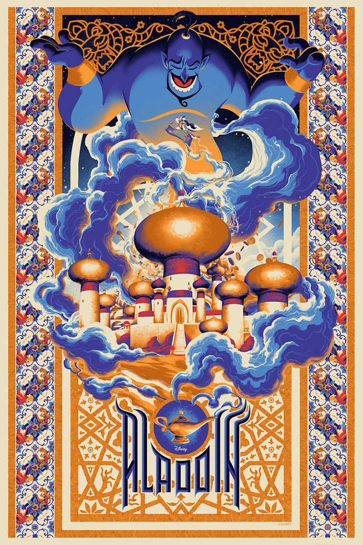 Matt Taylor, Disney Aladdin film poster showing the genie in blue with smoke trails surrounding an Indian palace. Tesselated pattern decorative borders and typography.