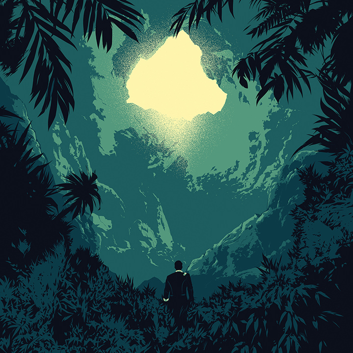 Matt Taylor, Matt Taylor, comic book style illustration of a man silhouette in a jungle. Minimal green colour palette