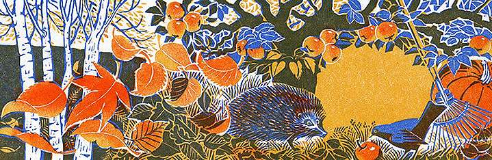 Clare Melinsky, Traditional linocut illustration of a head chock in an autumn scene