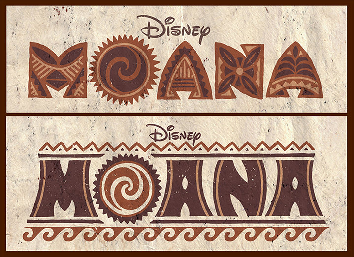 Michael Doret, Typography for Disney movie Moana. Decorative brown lettering