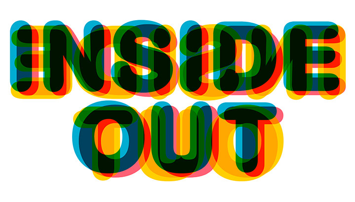 Michael Doret, Typography for Disney movie inside out. Transparent bold and colourful layers
