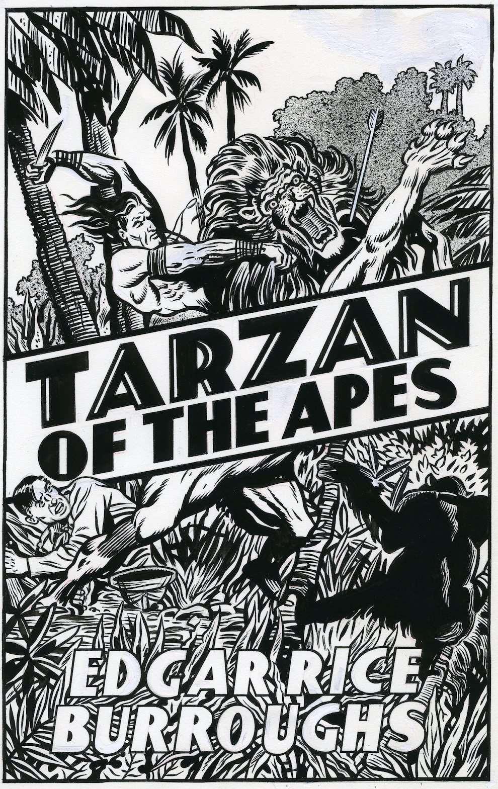 Mick Brownfield, Black and white retro illustration of Tarzan killing a lion in the jungle