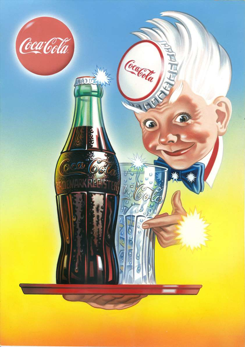 Mick Brownfield, Handpainted retro illustration for a coca-cola advertising