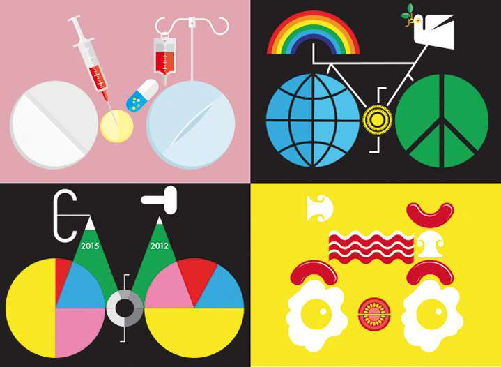 Mick Marston, Mick Marston, conceptual bike illustrations bold and graphic