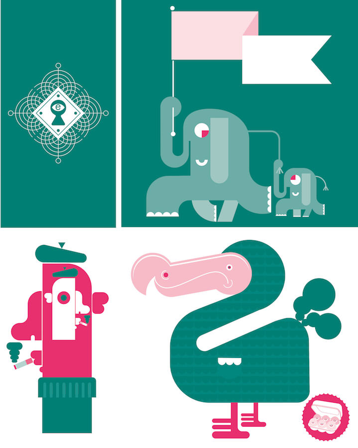 Mick Marston, Composition of green graphic illustrations, bold and playful animals