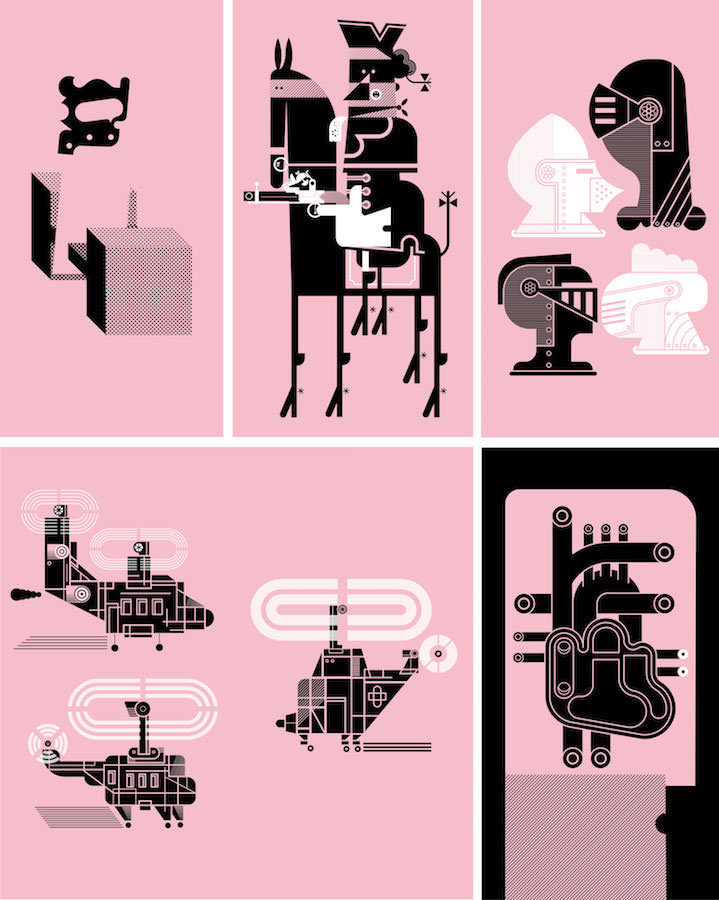 Mick Marston, Composition of pink and black graphic illustrations
