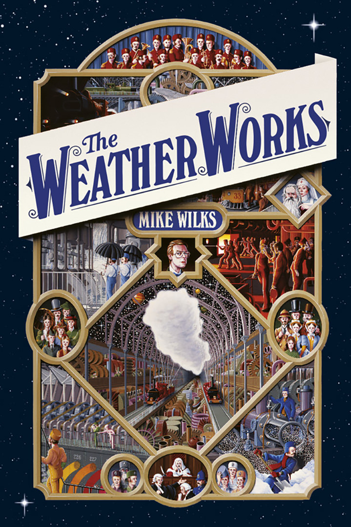 Mike Wilks, Illustrated book by Mike Wilks called the Weather Works. Detailed cover of a train station and the technical stages to run it. Historical figures and vintage rending
