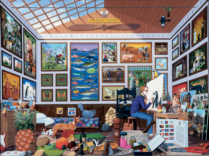 Mike Wilks, Curiosity cabinet with a collection for painting, art and object all starting with the letter P. Interior scene, bright and colourful