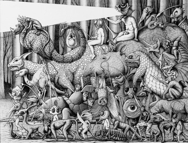 Mike Wilks, Black and white illustration by Mike Wilks in a etching style of surreal animals and creatures pack