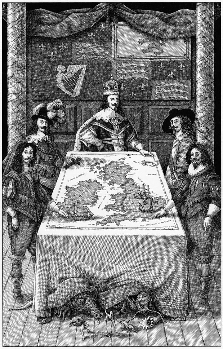 Mike Wilks, Black and white illustration in an etching style representing historical male figure around a United Kingdom map. Fantastic creatures underneath the table