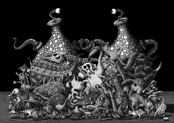 Mike Wilks, black and white etching illustration of fantasy animals. Dark and surreal