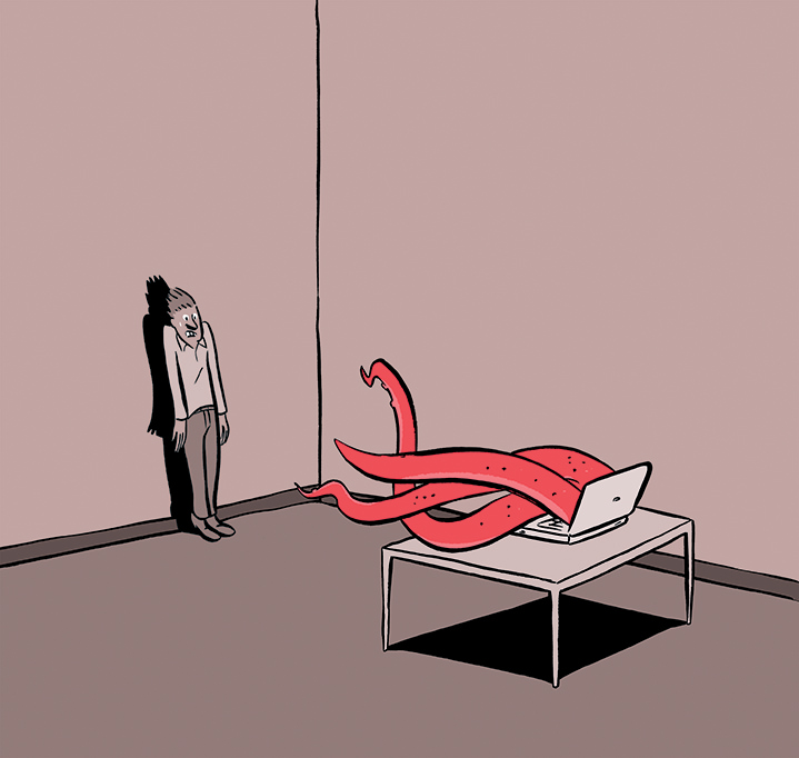 Nishant Choksi, Narrative digital illustration of an octopus getting out a computer screen and frightening a man