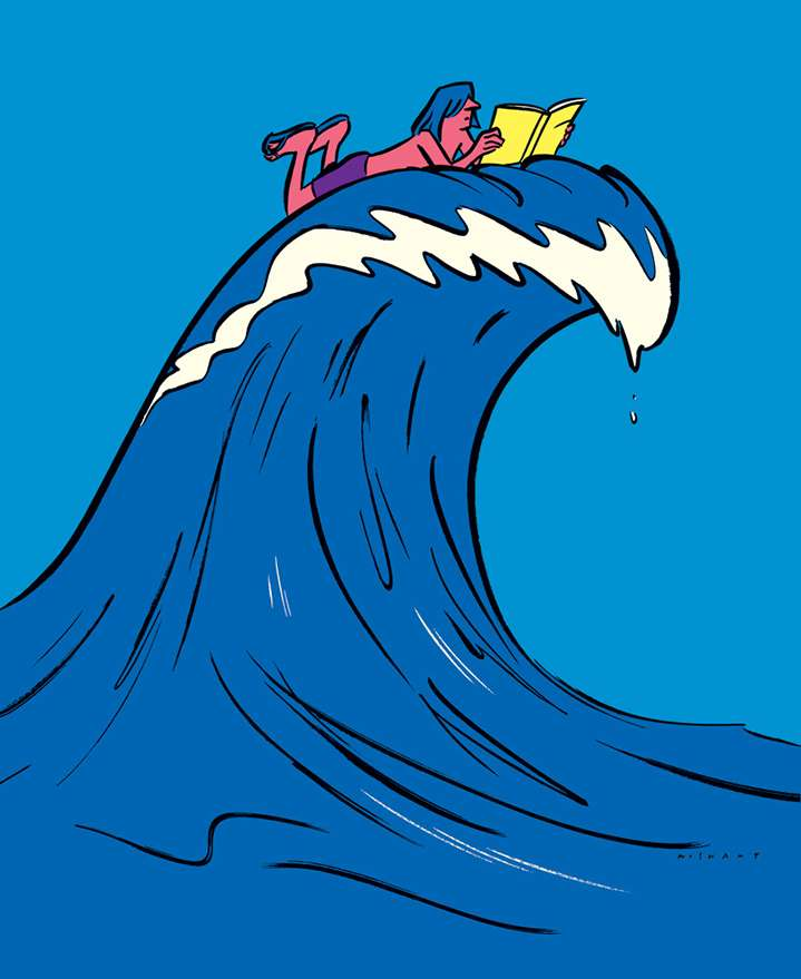 Nishant Choksi, Bold digital narrative illustration of a man riding a book on a wave