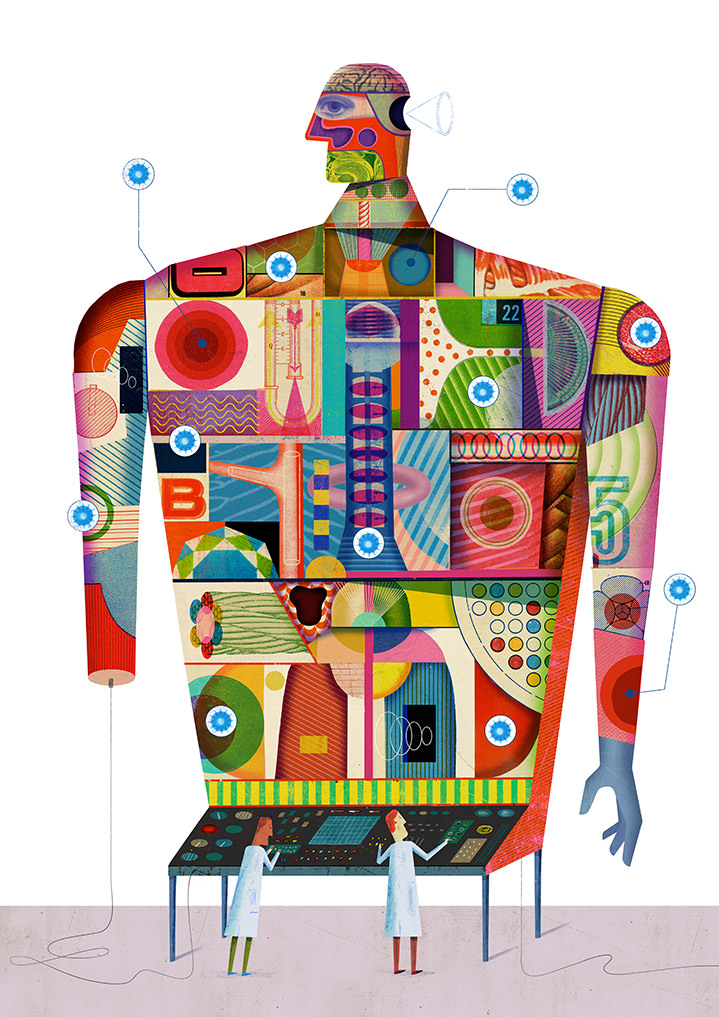 Christian Northeast, graphic collage of a human body used as a computer. Bright and playful colours