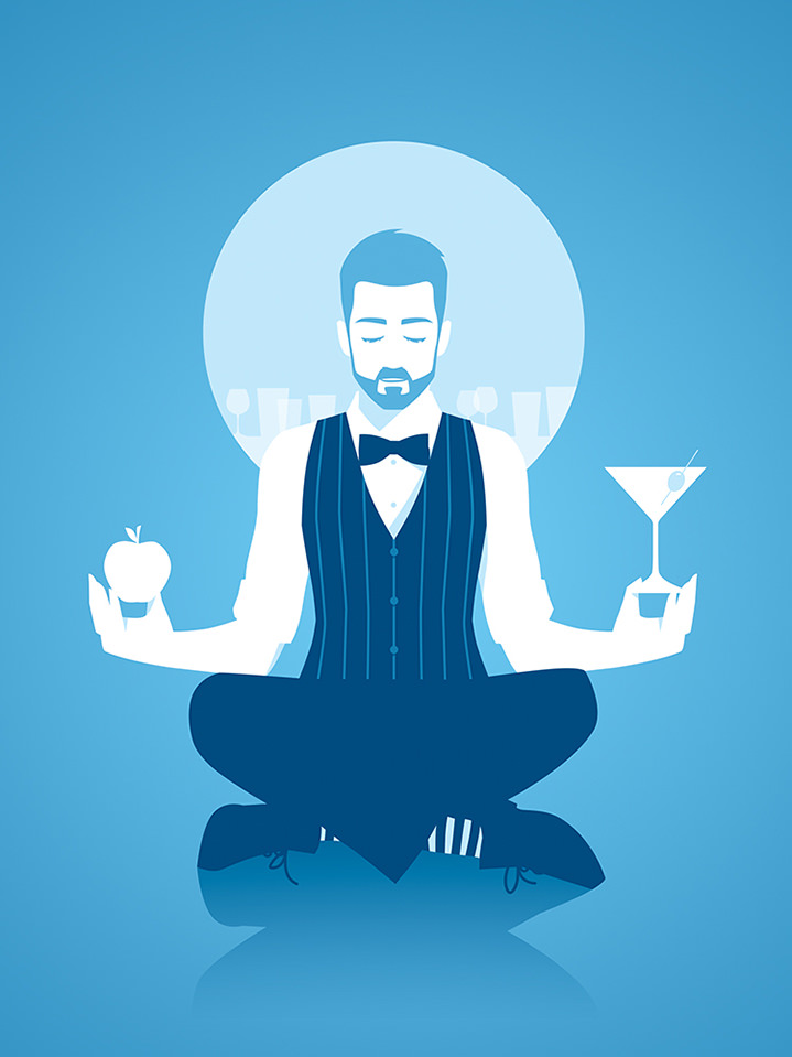 Paul Oakley, Digital illustration with bold geometric shapes of a bartender meditating holding a cocktail and an apple