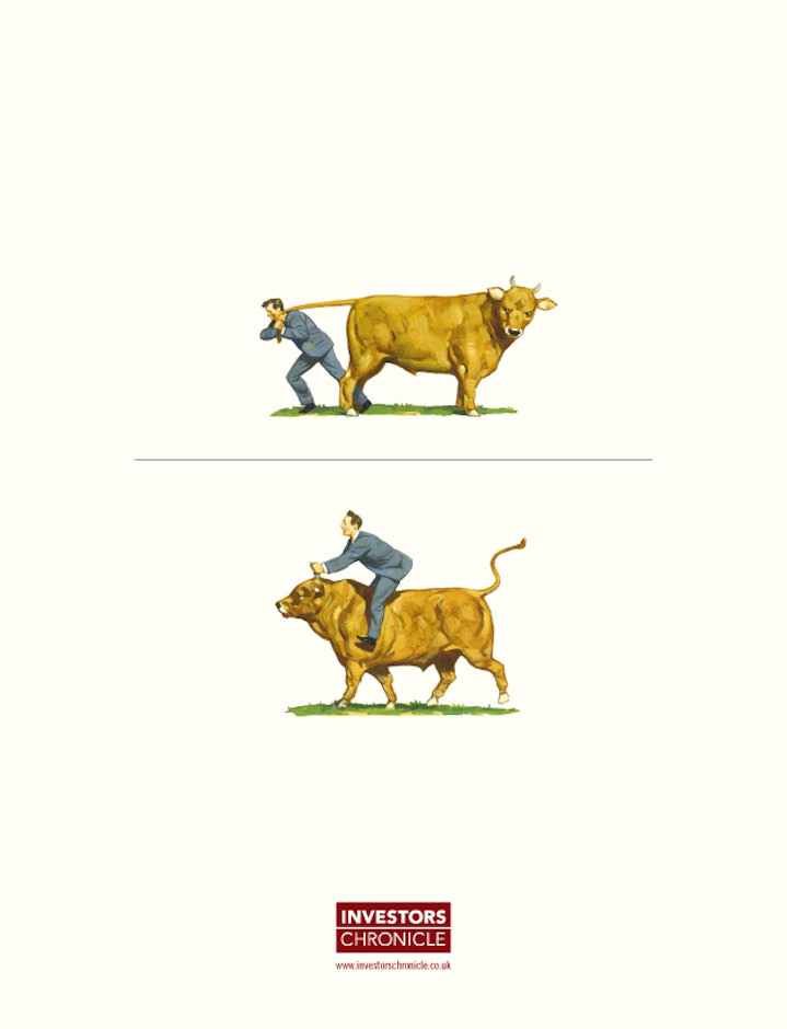 Paul Slater, humorous hand painted editorial illustration of a man riding a cow