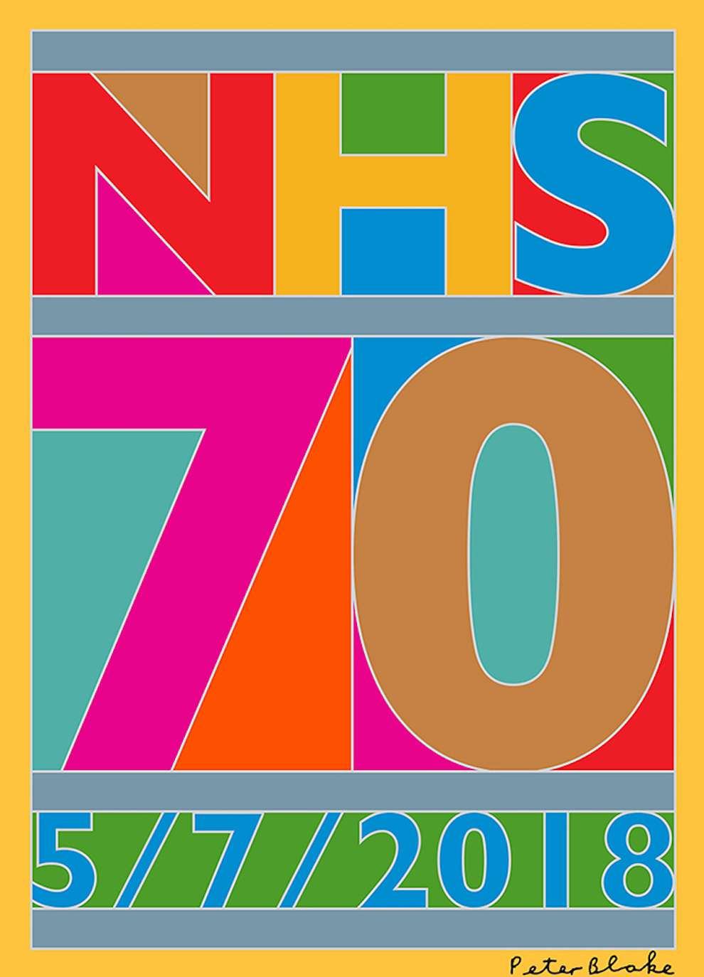 Sir Peter Blake, Bold and vibrant digital design for the 70 years anniversary of the NHS.