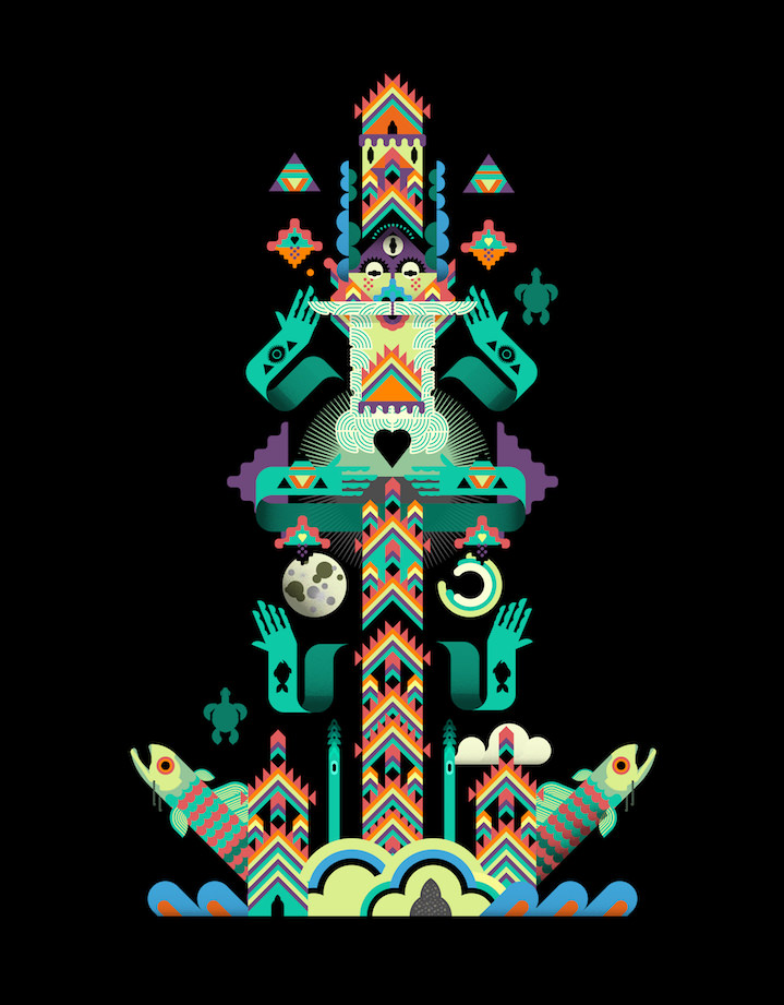 Ray Smith, Colourful, playful and textural illustration of a god