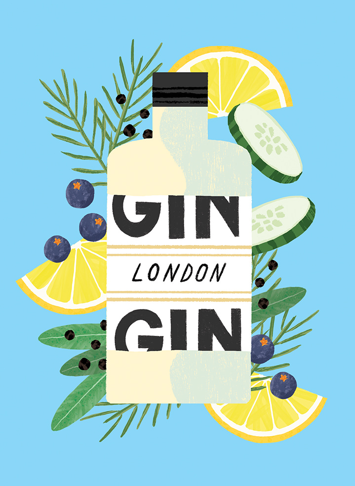 Ruby  Taylor, illustration of a gin bottle with botanical and fruit elements such as lemon and blueberries, cucumber, rosemary and herbs, with a blue background. Graphic textural style.