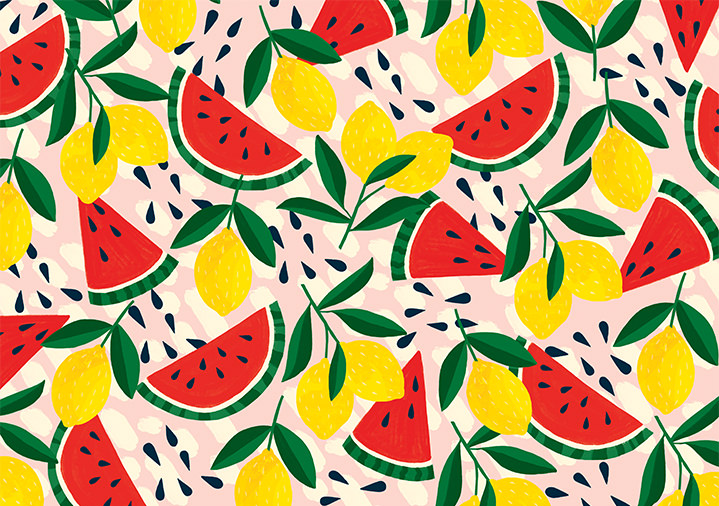Ruby  Taylor, repeating fruit pattern with lemons and watermelon in colourful vector illustrated style.