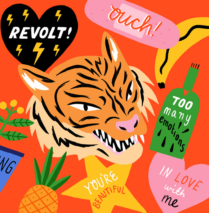 Ruby  Taylor, digitally hand drawn illustration of stickers. A tiger face in the centre with typographic motifs in bold colours.
