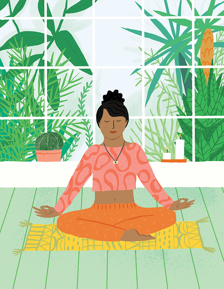 Ruby  Taylor, illustration, characters, drawn, colour, yoga