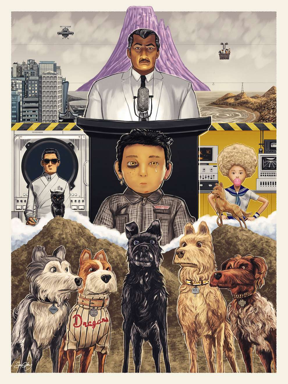 Sam  Gilbey, Digital painterly poster of an animated film by Wes Anderson, Isle of dogs.