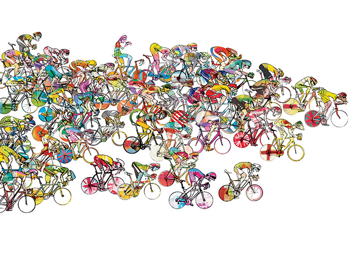 Simon Spilsbury, Bright and colourful illustration of cyclists