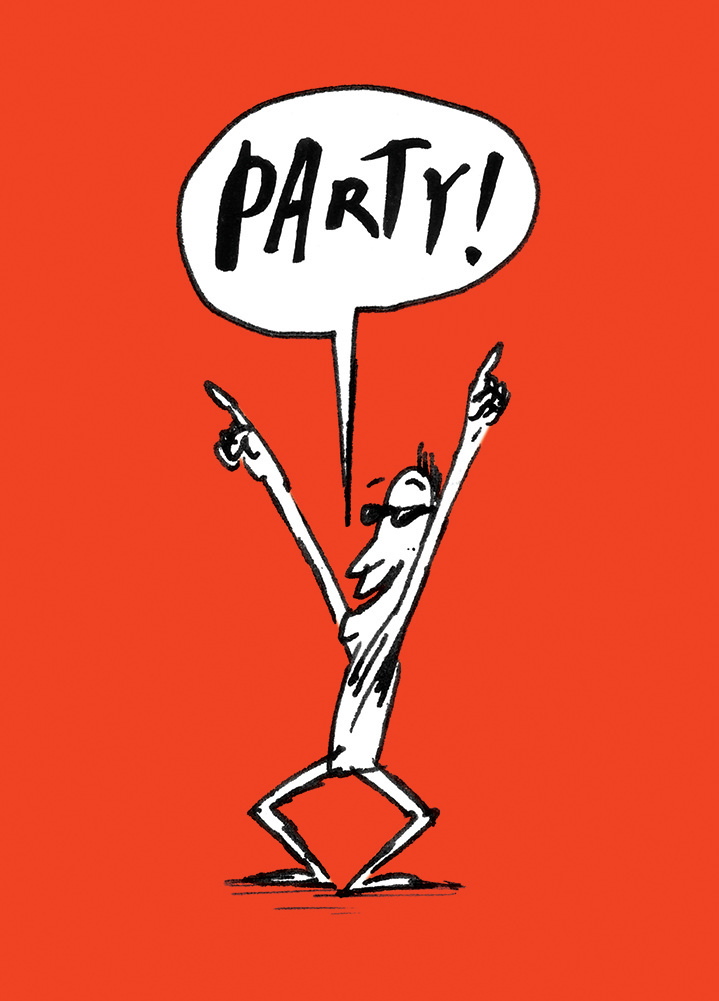 Simon Spilsbury, Line art character with hand drawn type speech bubble saying 'party!'