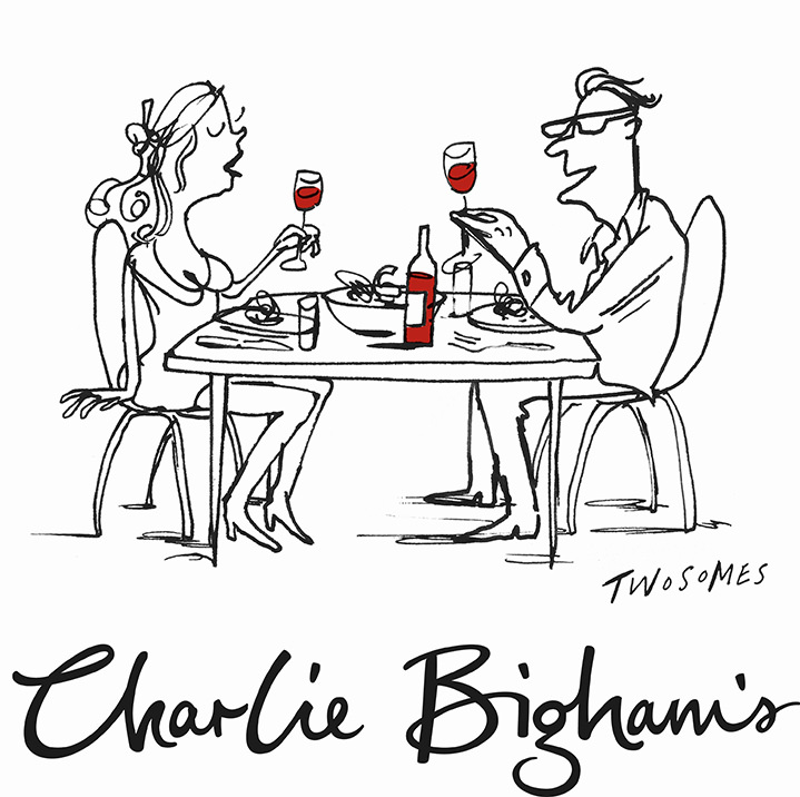 Simon Spilsbury, Line art illustration of a couple having diner and wine