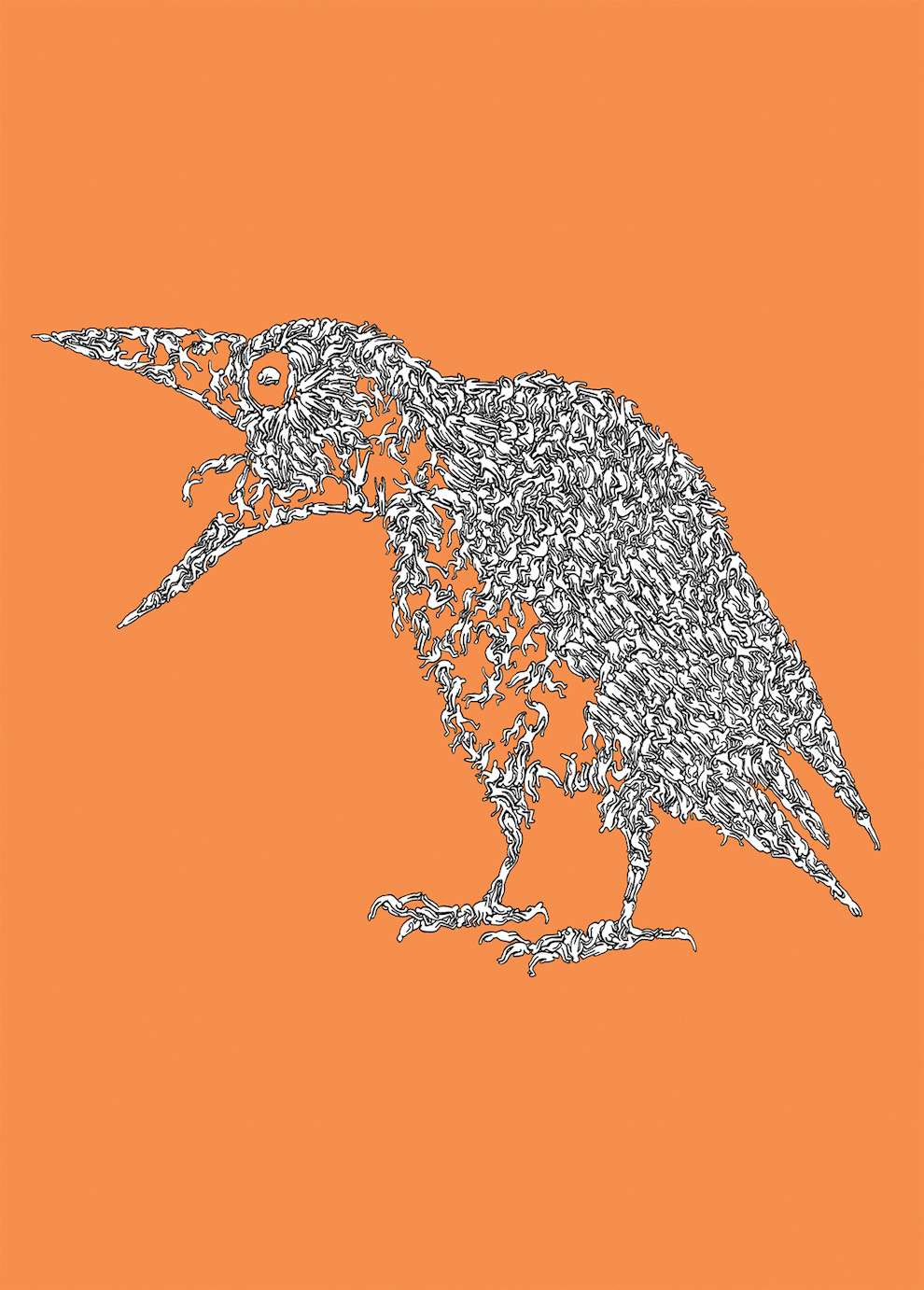 Simon Spilsbury Illustration Central Agency Cat 6 Wiring Diagram Line Art Of A Crow Made Off Humans Body