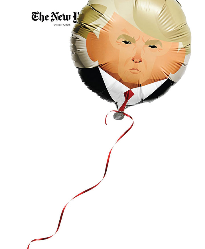 stan chow, illustrator, illustration, balloon, donald trump, politician, usa, america, humorous, the new yorker, witty, pun, portrait, graphic, digital, vector, design, editorial, advertising