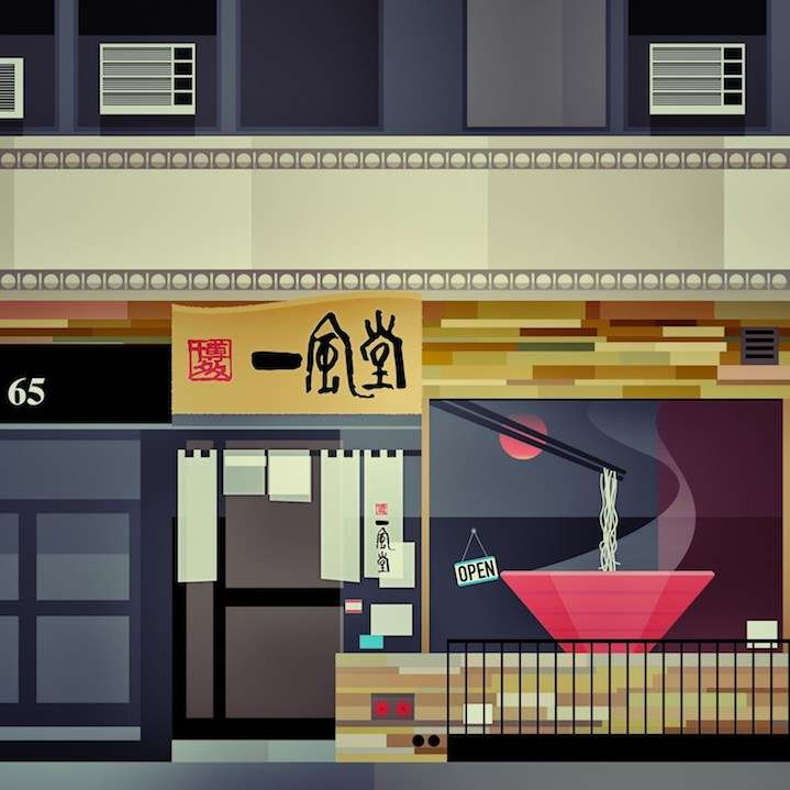 Stanley Chow, graphic illustration of a shop front