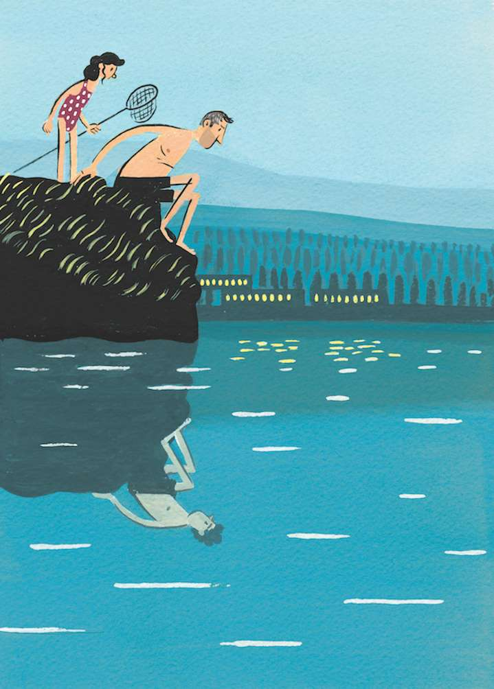 Stephen Collins, Painterly narrative illustration of a dad and his daughter fishing. The man is looking at the water and see himself as a kid in the reflection