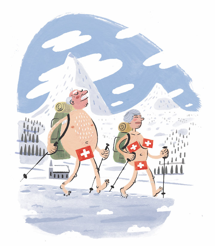 Stephen Collins, Humoristic Painterly narrative illustration of a naked elderly couple in the mountain with the Swiss flag covering their intimate parts.