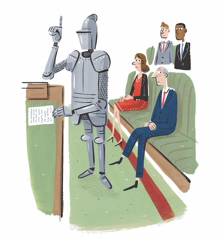 Stephen Collins, Humoristic painterly illustration of a knight being a layer