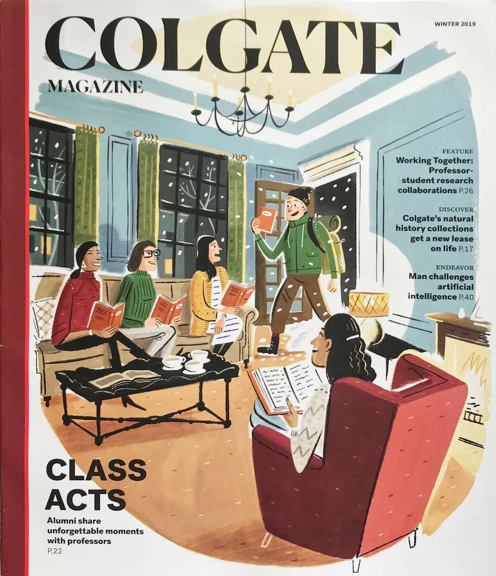 Stephen Collins, Painterly cartoon illustration for magazine cover. Man walking in a living room holding a book and interrupting a book club meeting