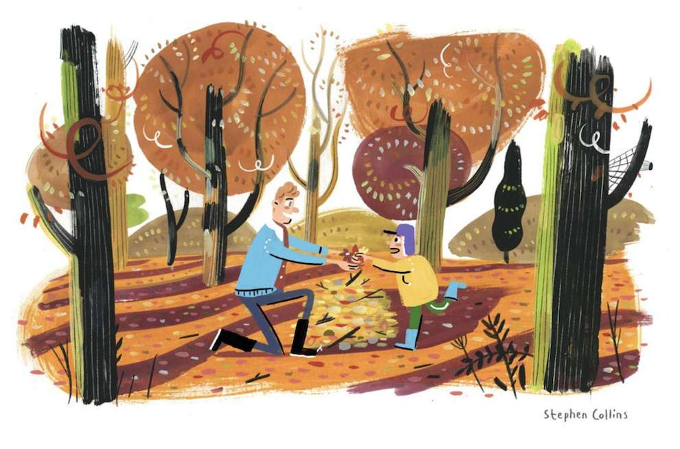 Stephen Collins, Painterly illustration of a father and son playing in the wood