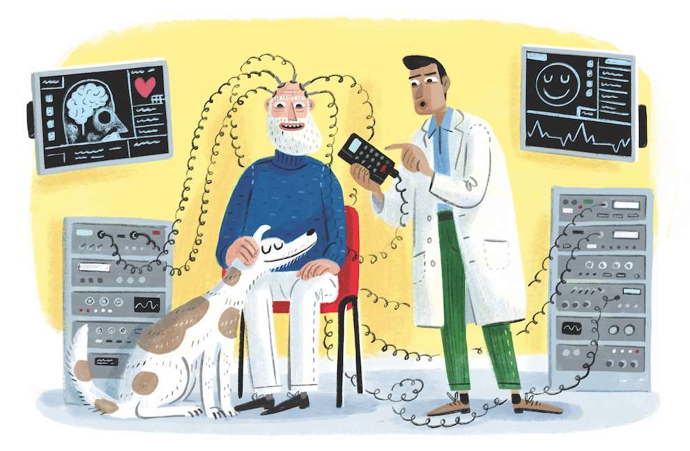 Stephen Collins, narrative painterly scenery of a scientist doing experiences on a man petting his dog